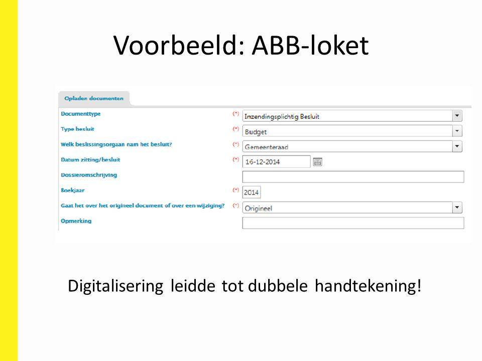 Voorbeeld: ABB-loket Digitalisering leidde tot dubbele handtekening!