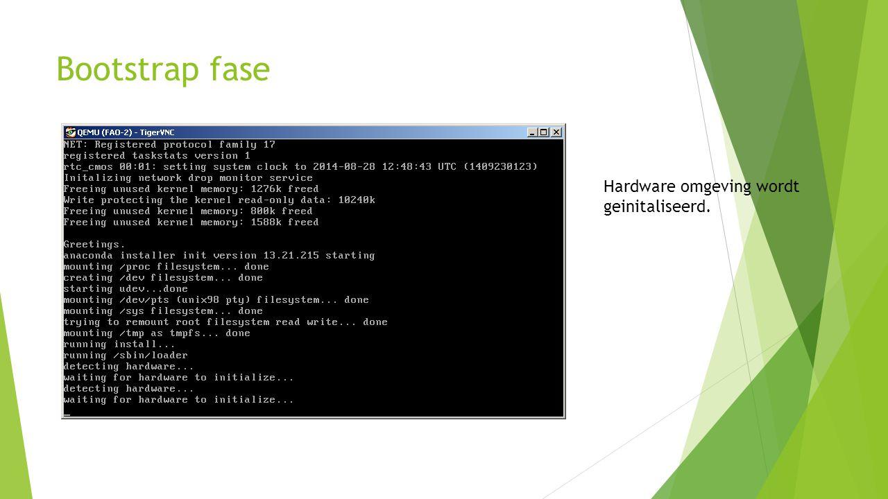 Bootstrap fase Hardware omgeving wordt geinitaliseerd.