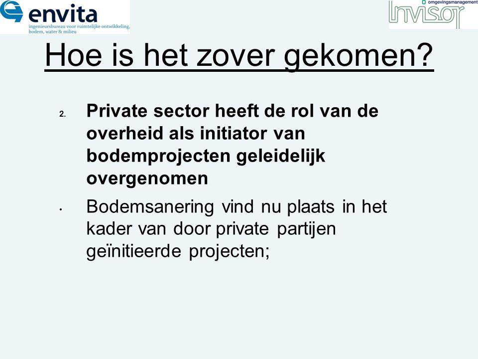 Hoe is het zover gekomen? 2. Private sector heeft de rol van de overheid als initiator van bodemprojecten geleidelijk overgenomen Bodemsanering vind n