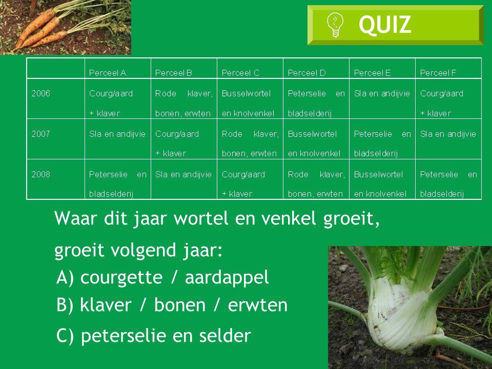 Waar dit jaar wortel en venkel groeit, groeit volgend jaar: A) courgette / aardappel B) klaver / bonen / erwten C) peterselie en selder