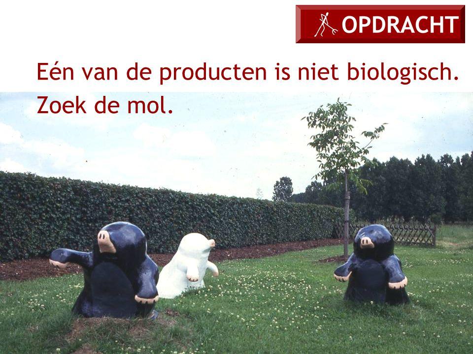 Eén van de producten is niet biologisch. Zoek de mol.