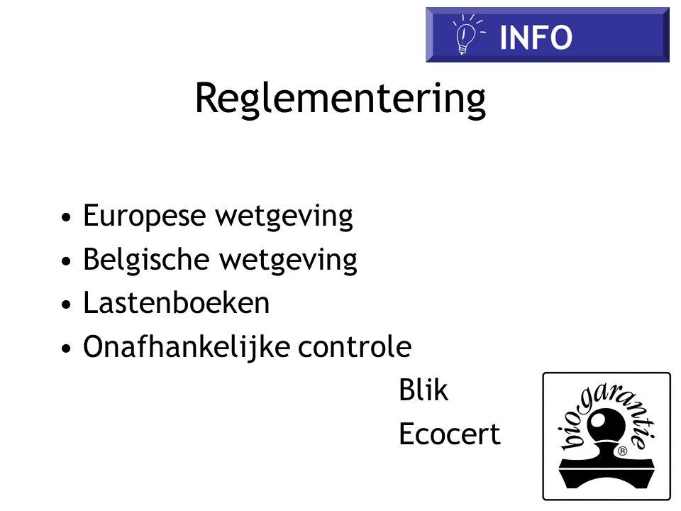 Reglementering Europese wetgeving Belgische wetgeving Lastenboeken Onafhankelijke controle Blik Ecocert