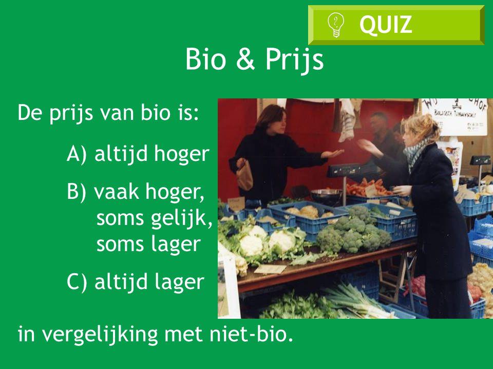 De prijs van bio is: A) altijd hoger B) vaak hoger, soms gelijk, soms lager C) altijd lager in vergelijking met niet-bio.