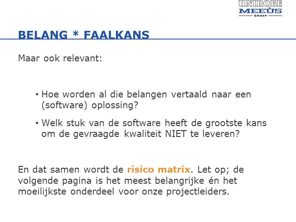 BELANG * FAALKANS Maar ook relevant: Hoe worden al die belangen vertaald naar een (software) oplossing.