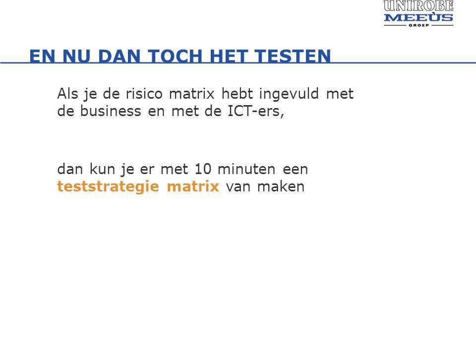 EN NU DAN TOCH HET TESTEN Als je de risico matrix hebt ingevuld met de business en met de ICT-ers, dan kun je er met 10 minuten een teststrategie matrix van maken