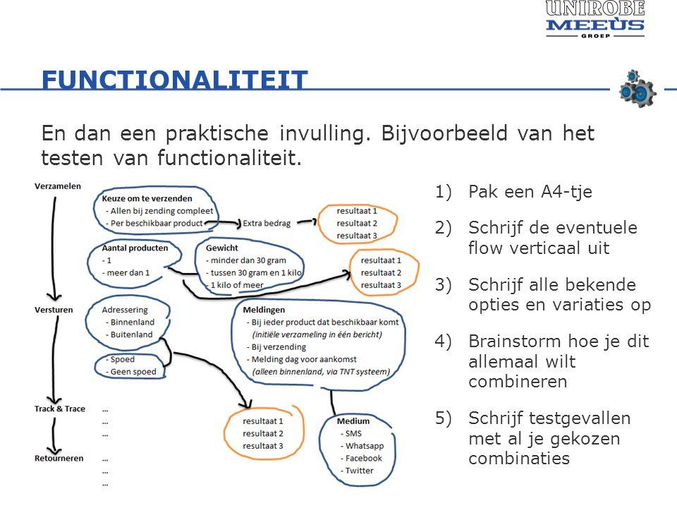 FUNCTIONALITEIT En dan een praktische invulling.Bijvoorbeeld van het testen van functionaliteit.
