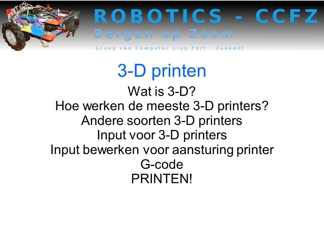 3-D printen Wat is 3-D.Hoe werken de meeste 3-D printers.