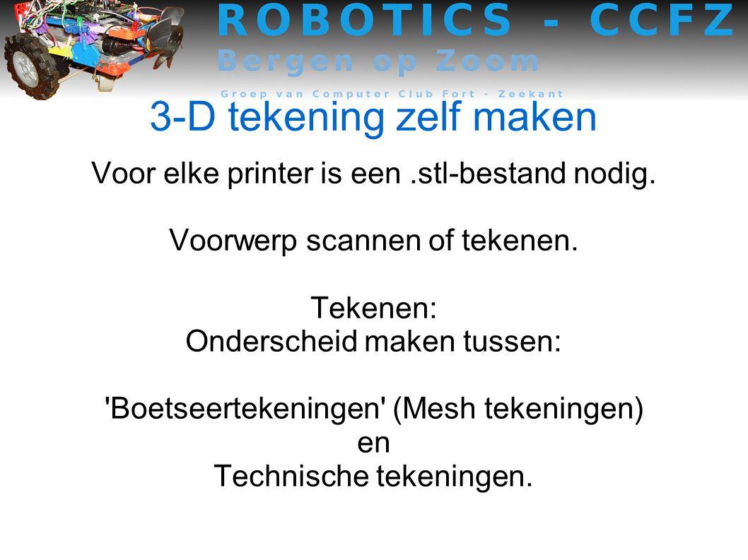 3-D tekening zelf maken Voor elke printer is een.stl-bestand nodig.