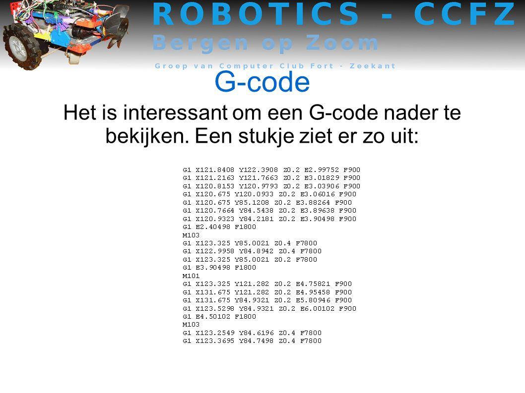 G-code Het is interessant om een G-code nader te bekijken. Een stukje ziet er zo uit: