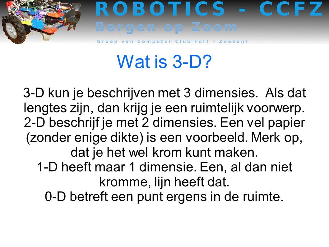 Wat is 3-D.3-D kun je beschrijven met 3 dimensies.