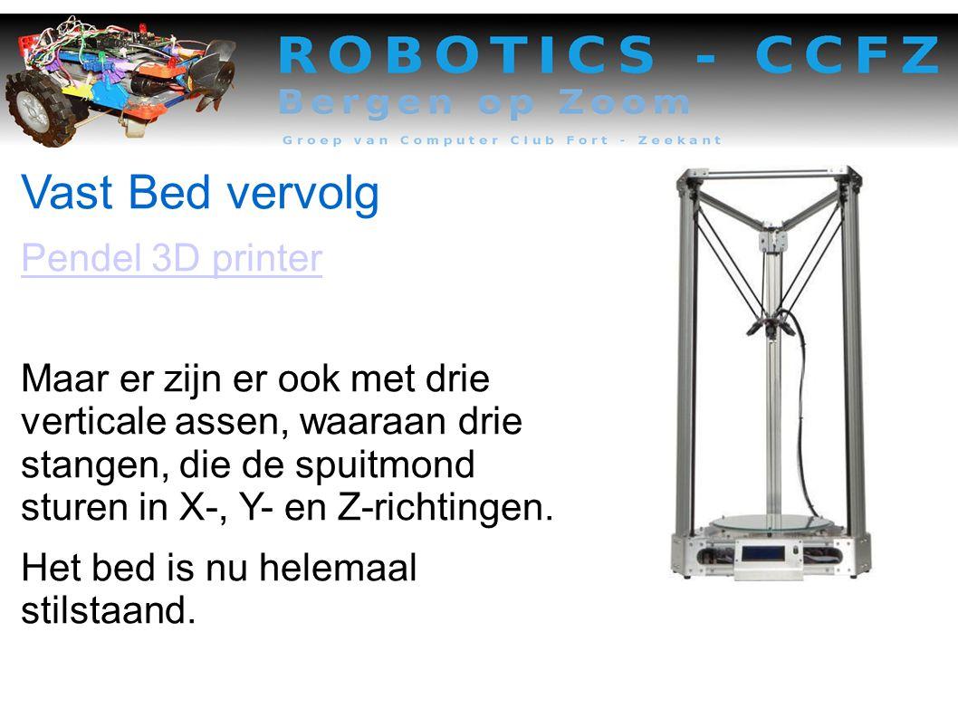 Vast Bed vervolg Pendel 3D printer Maar er zijn er ook met drie verticale assen, waaraan drie stangen, die de spuitmond sturen in X-, Y- en Z-richtingen.