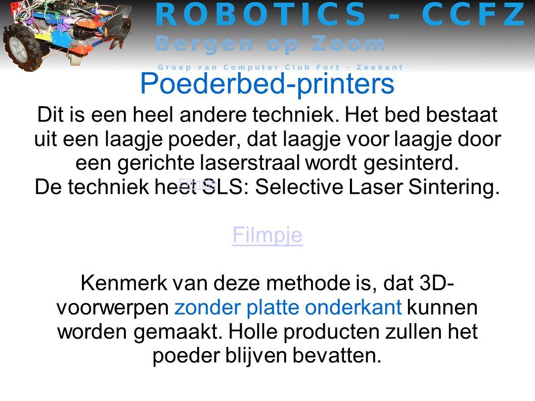 Poederbed-printers Dit is een heel andere techniek.
