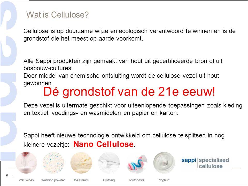 | Sappi Europe Corporate Presentation | 2015 | 5 Cellulose is op duurzame wijze en ecologisch verantwoord te winnen en is de grondstof die het meest o