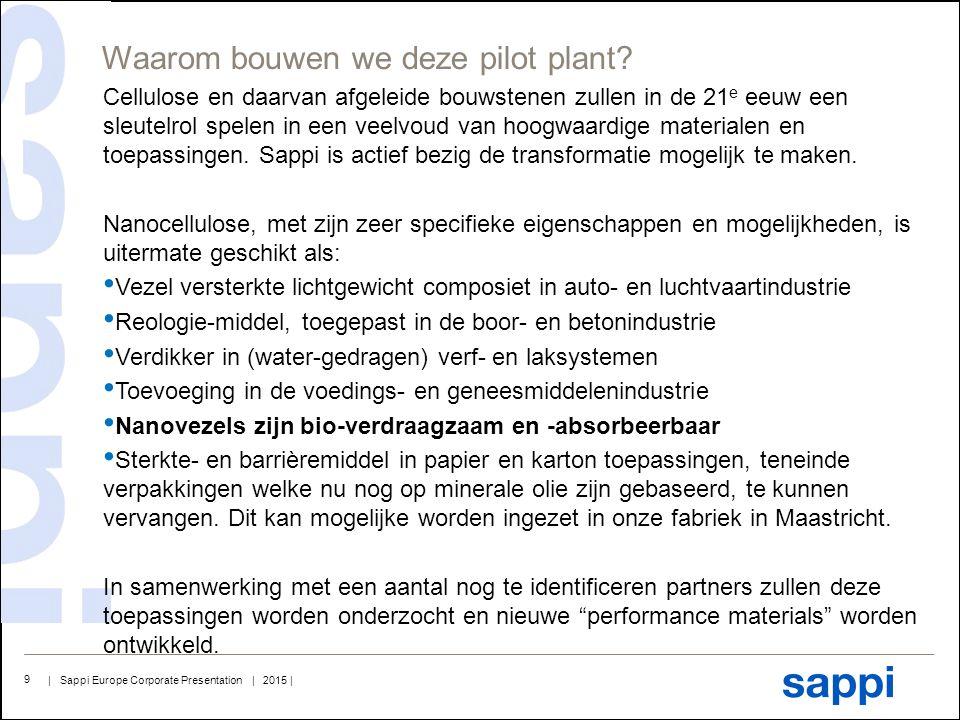 | Sappi Europe Corporate Presentation | 2015 | 9 Cellulose en daarvan afgeleide bouwstenen zullen in de 21 e eeuw een sleutelrol spelen in een veelvou