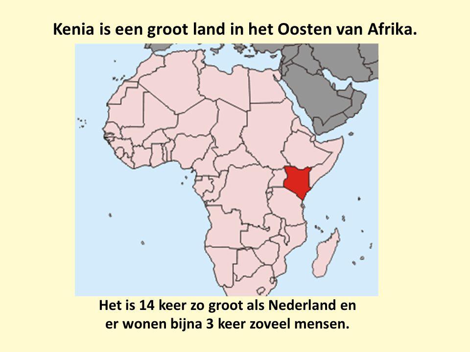 Kenia is een groot land in het Oosten van Afrika. Het is 14 keer zo groot als Nederland en er wonen bijna 3 keer zoveel mensen.