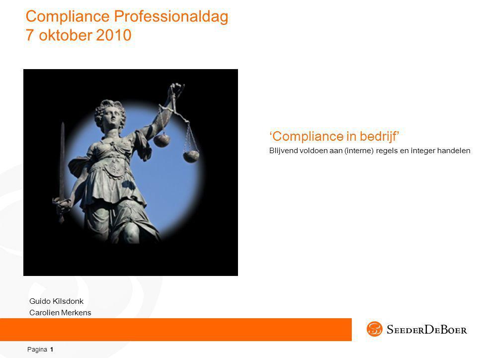 Pagina 1 Compliance Professionaldag 7 oktober 2010 'Compliance in bedrijf' Blijvend voldoen aan (interne) regels en integer handelen Guido Kilsdonk Carolien Merkens