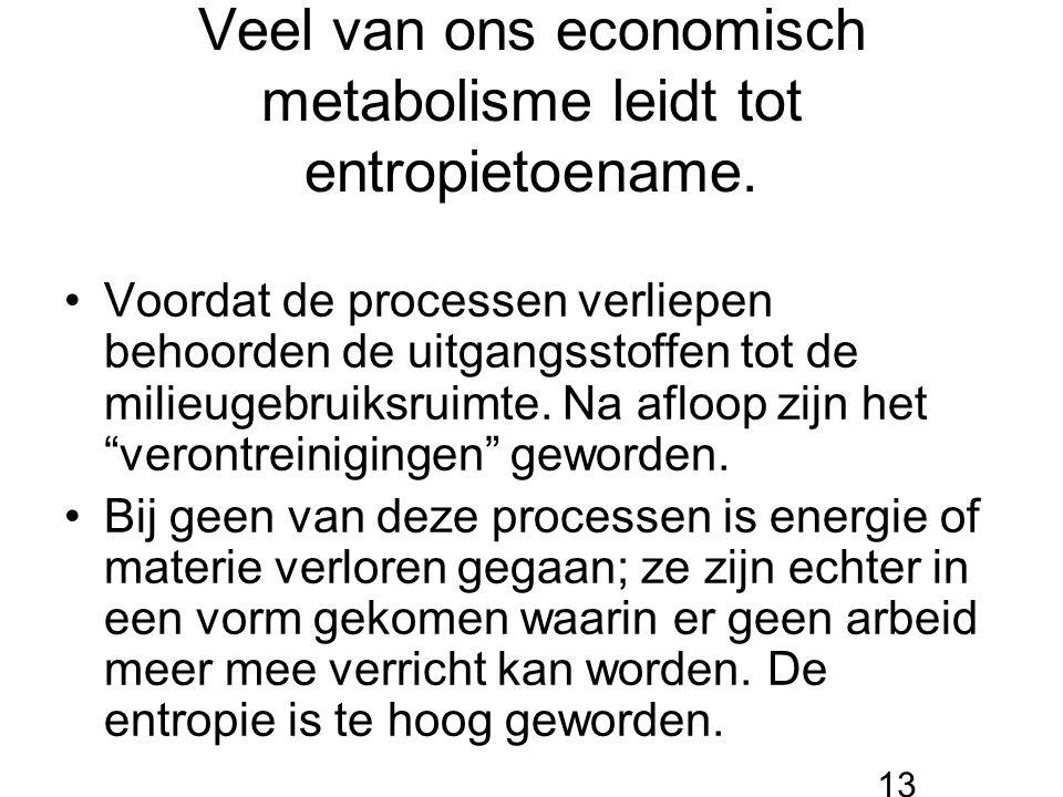 Veel van ons economisch metabolisme leidt tot entropietoename. Voordat de processen verliepen behoorden de uitgangsstoffen tot de milieugebruiksruimte