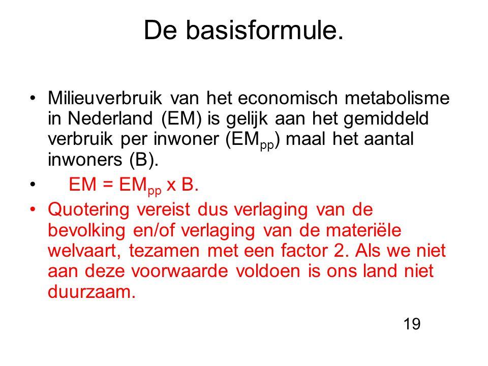 De basisformule. Milieuverbruik van het economisch metabolisme in Nederland (EM) is gelijk aan het gemiddeld verbruik per inwoner (EM pp ) maal het aa