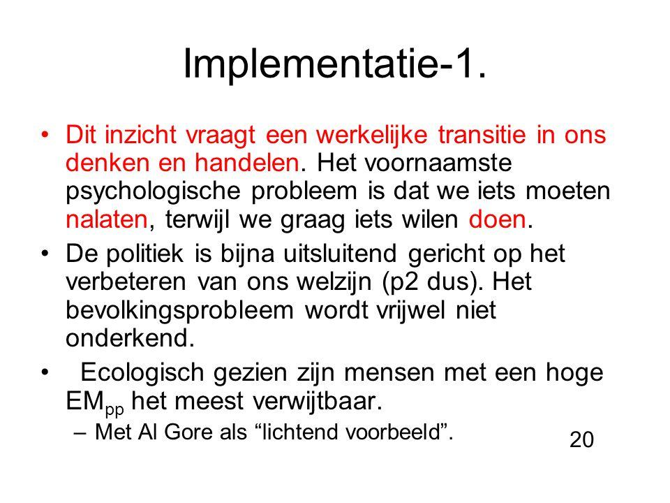 Implementatie-1. Dit inzicht vraagt een werkelijke transitie in ons denken en handelen. Het voornaamste psychologische probleem is dat we iets moeten