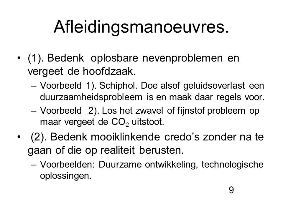 Afleidingsmanoeuvres. (1). Bedenk oplosbare nevenproblemen en vergeet de hoofdzaak. –Voorbeeld 1). Schiphol. Doe alsof geluidsoverlast een duurzaamhei