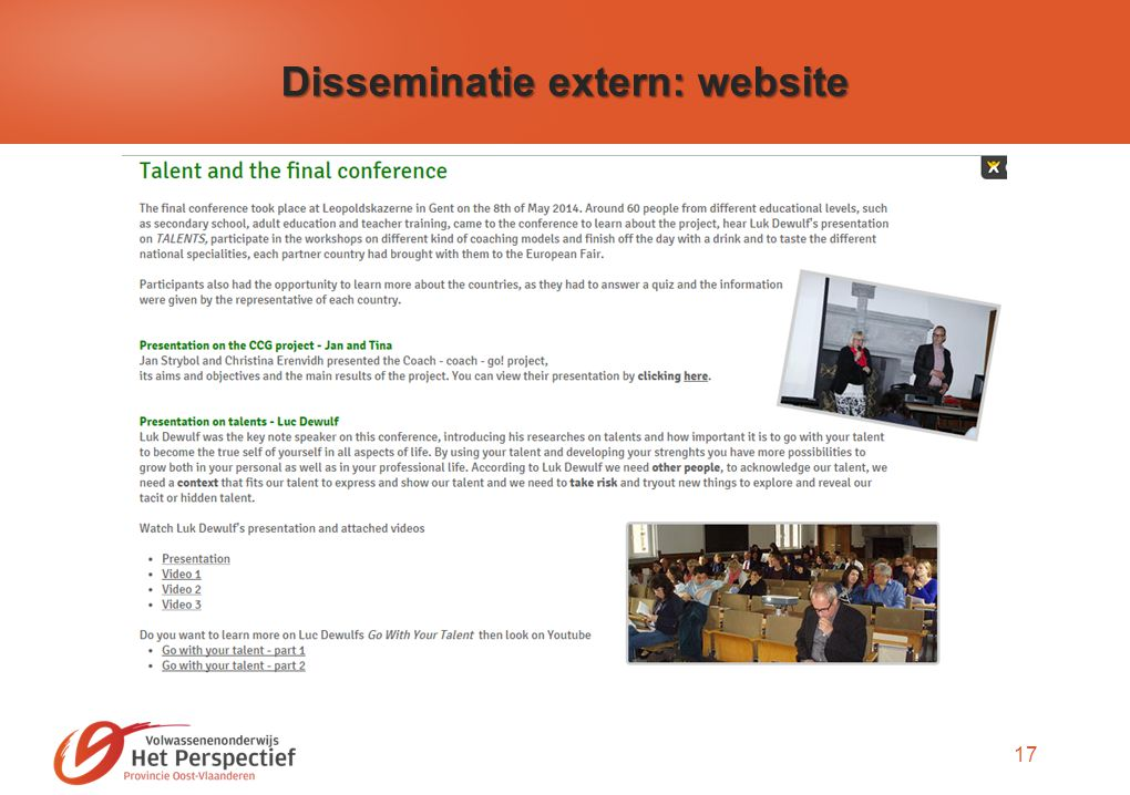 17 Disseminatie extern: website