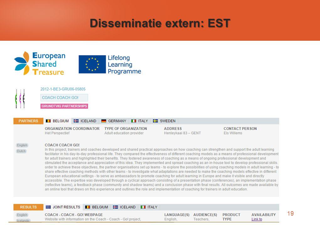 19 Disseminatie extern: EST