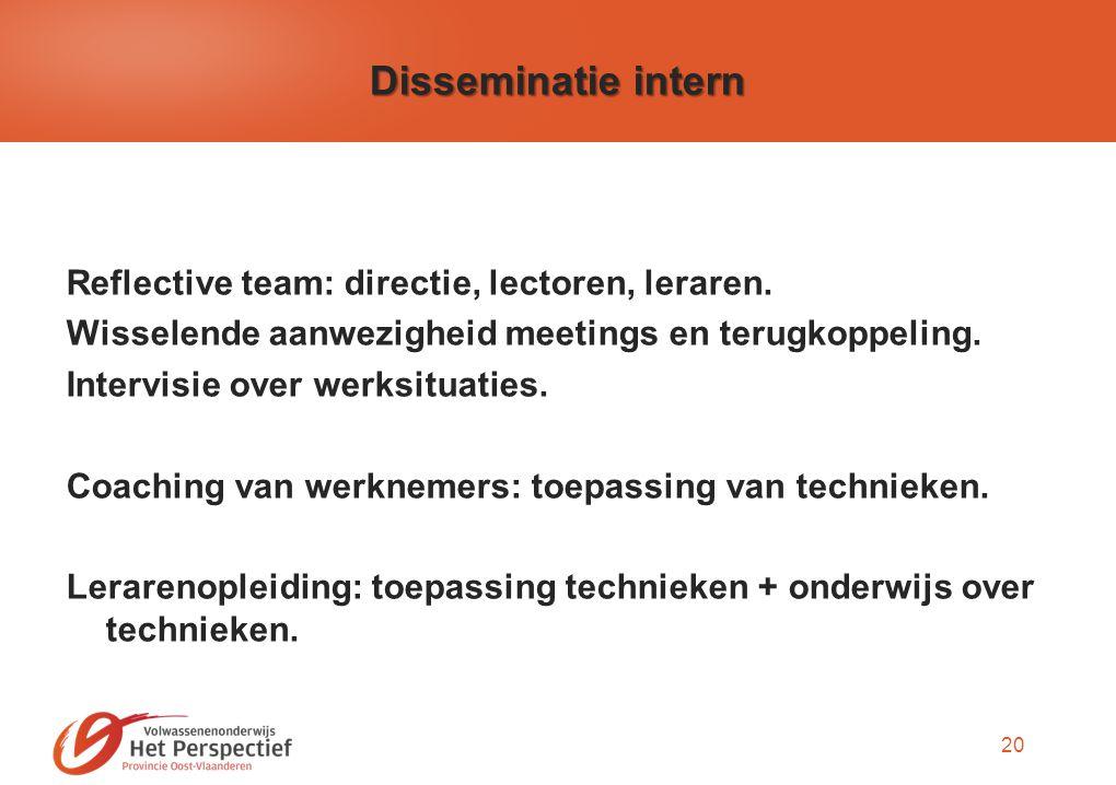 20 Disseminatie intern Reflective team: directie, lectoren, leraren.