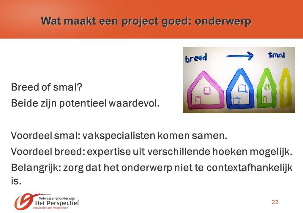 22 Wat maakt een project goed: onderwerp Breed of smal.