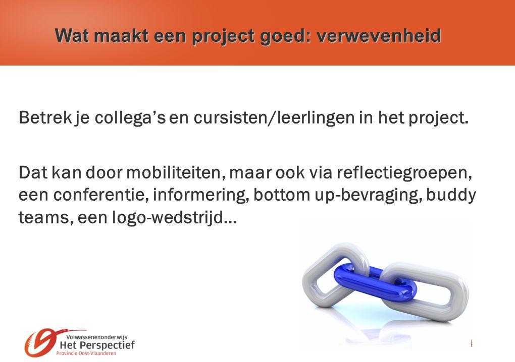24 Wat maakt een project goed: verwevenheid Betrek je collega's en cursisten/leerlingen in het project.