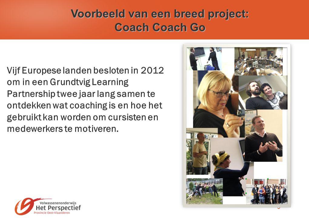 3 Voorbeeld van een breed project: Coach Coach Go Vijf Europese landen besloten in 2012 om in een Grundtvig Learning Partnership twee jaar lang samen te ontdekken wat coaching is en hoe het gebruikt kan worden om cursisten en medewerkers te motiveren.