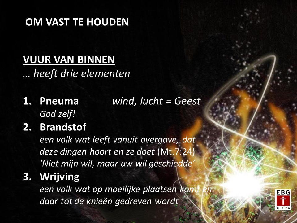 OM VAST TE HOUDEN VUUR VAN BINNEN … heeft drie elementen 1.Pneumawind, lucht = Geest God zelf.