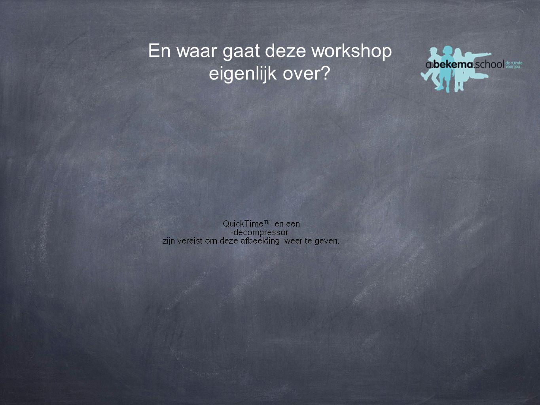 En waar gaat deze workshop eigenlijk over?