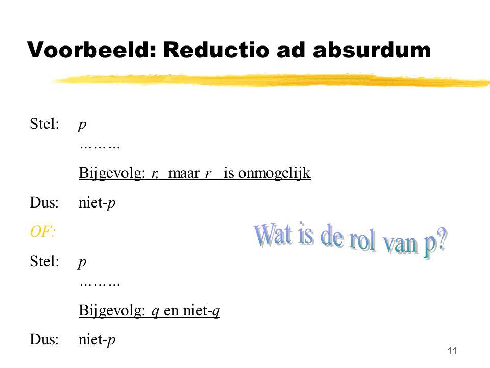 11 Voorbeeld: Reductio ad absurdum Stel: p ……… Bijgevolg: r, maar r is onmogelijk Dus:niet-p OF: Stel: p ……… Bijgevolg: q en niet-q Dus:niet-p