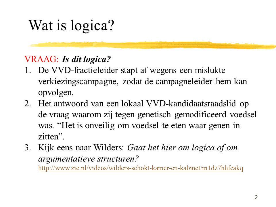 2 VRAAG: Is dit logica? 1.De VVD-fractieleider stapt af wegens een mislukte verkiezingscampagne, zodat de campagneleider hem kan opvolgen. 2.Het antwo