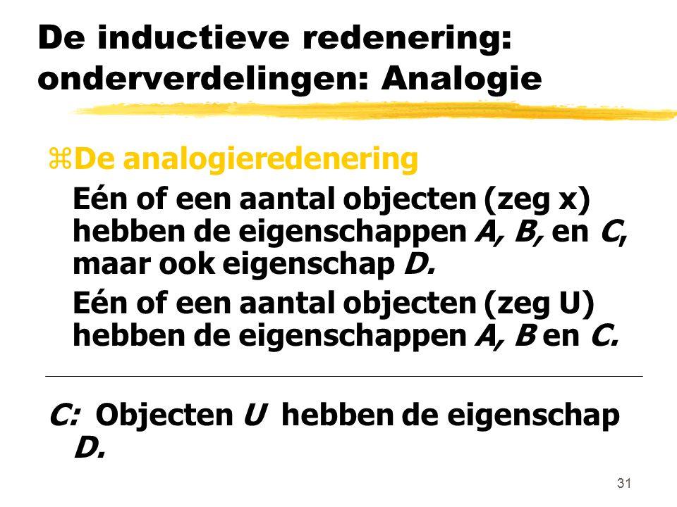 31 De inductieve redenering: onderverdelingen: Analogie zDe analogieredenering Eén of een aantal objecten (zeg x) hebben de eigenschappen A, B, en C,
