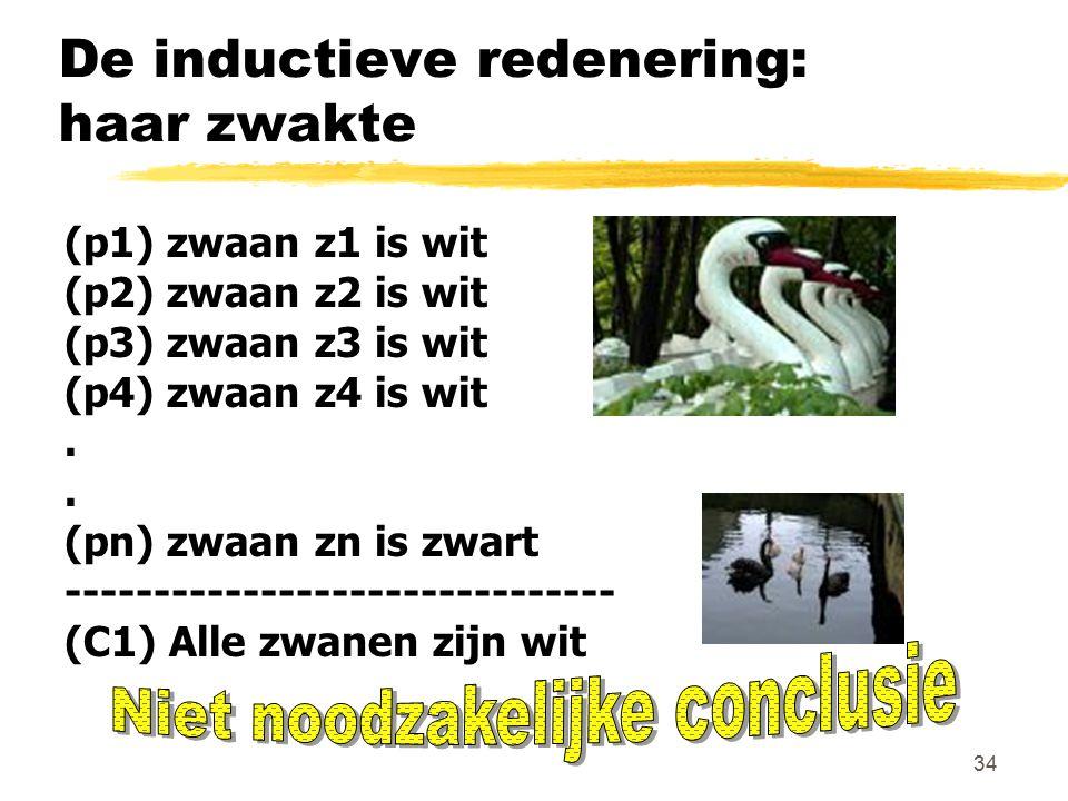 34 De inductieve redenering: haar zwakte (p1) zwaan z1 is wit (p2) zwaan z2 is wit (p3) zwaan z3 is wit (p4) zwaan z4 is wit. (pn) zwaan zn is zwart -
