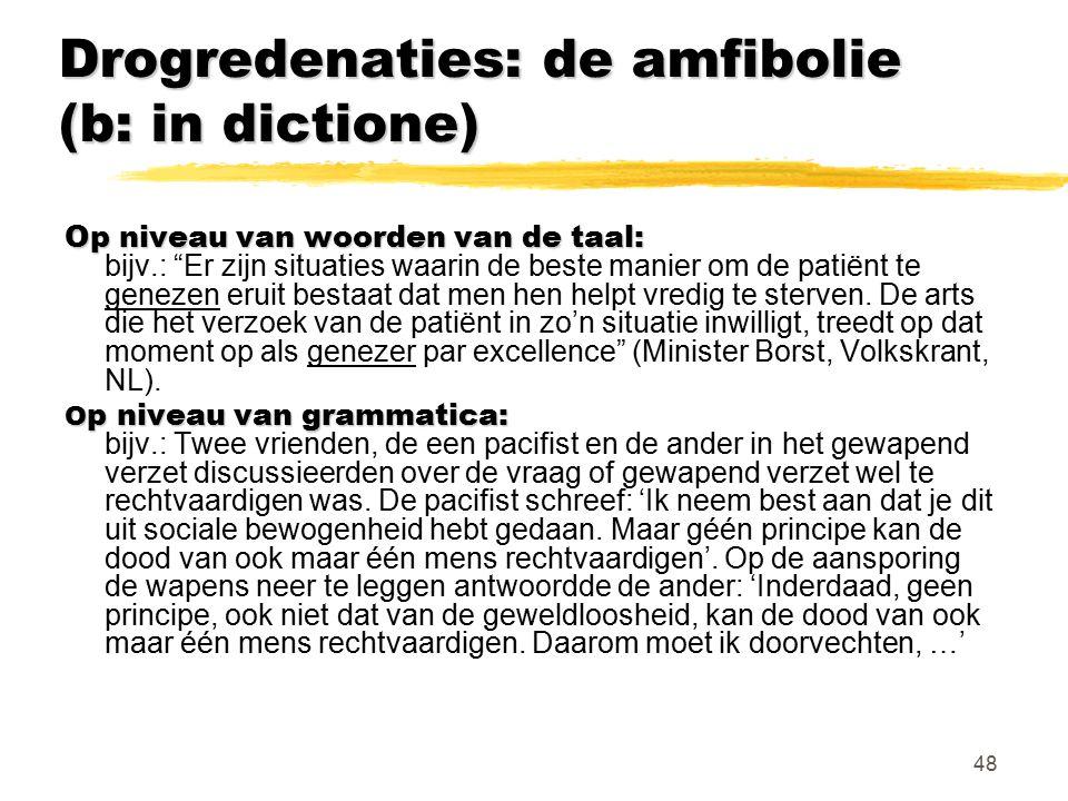 """48 Drogredenaties: de amfibolie (b: in dictione) Op niveau van woorden van de taal: Op niveau van woorden van de taal: bijv.: """"Er zijn situaties waari"""