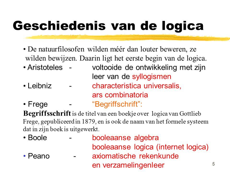 5 Geschiedenis van de logica De natuurfilosofen wilden méér dan louter beweren, ze wilden bewijzen. Daarin ligt het eerste begin van de logica. Aristo