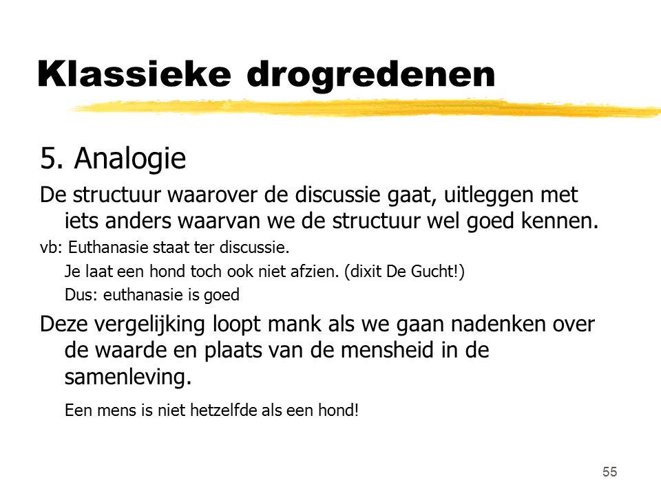55 Klassieke drogredenen 5. Analogie De structuur waarover de discussie gaat, uitleggen met iets anders waarvan we de structuur wel goed kennen. vb: E