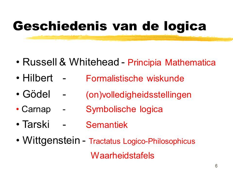 6 Geschiedenis van de logica Russell & Whitehead - Principia Mathematica Hilbert - Formalistische wiskunde Gödel - (on)volledigheidsstellingen Carnap-