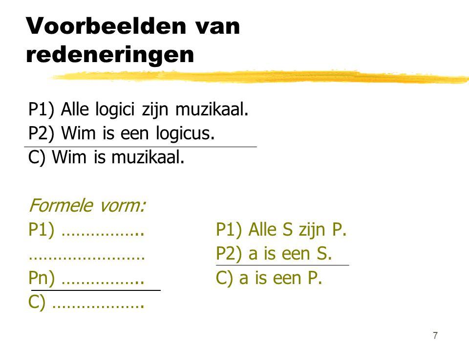 7 Voorbeelden van redeneringen P1) Alle logici zijn muzikaal. P2) Wim is een logicus. C) Wim is muzikaal. Formele vorm: P1) ……………..P1) Alle S zijn P.