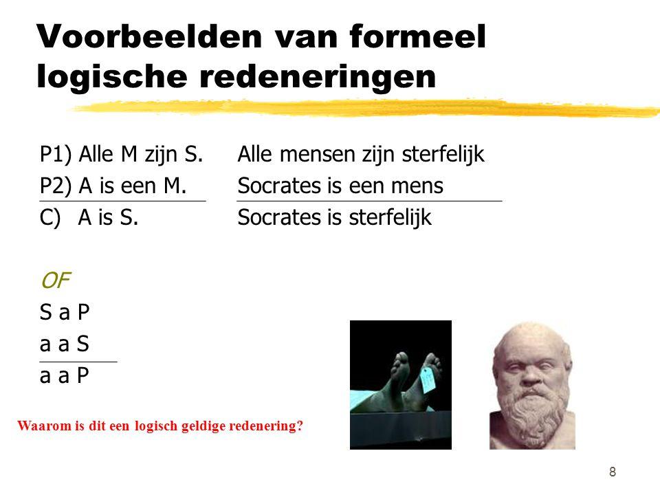 8 Voorbeelden van formeel logische redeneringen P1) Alle M zijn S. Alle mensen zijn sterfelijk P2) A is een M. Socrates is een mens C) A is S. Socrate