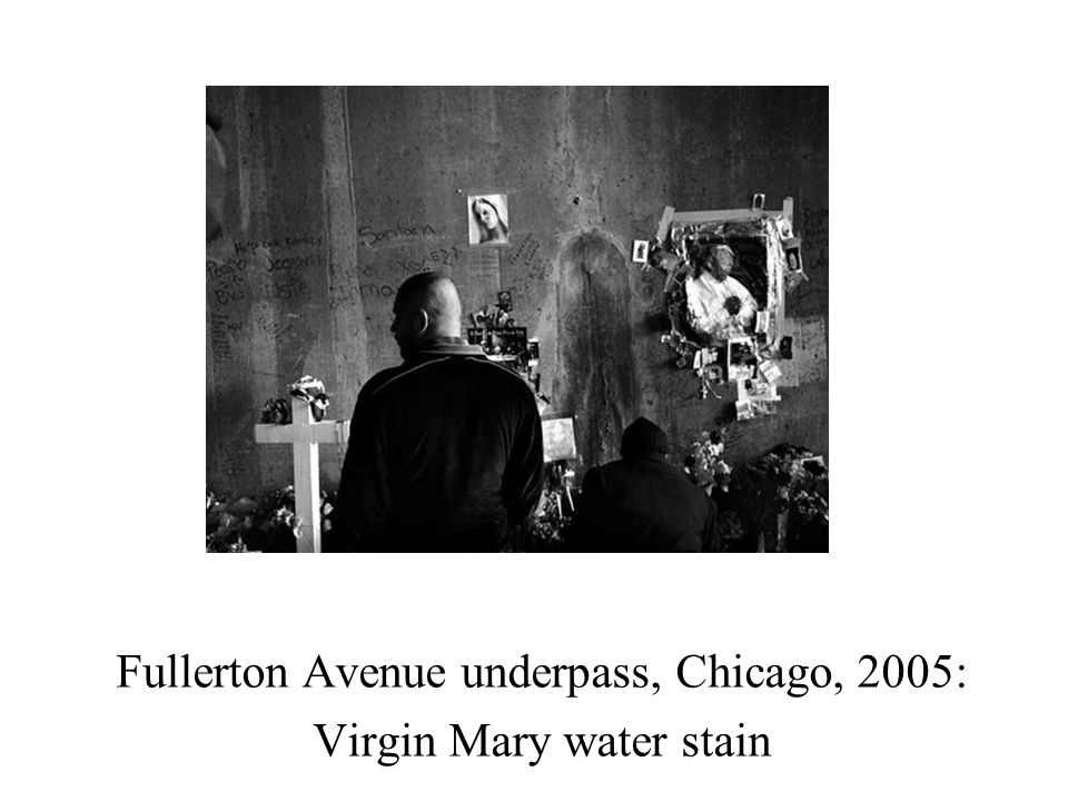 Fullerton Avenue underpass, Chicago, 2005: Virgin Mary water stain