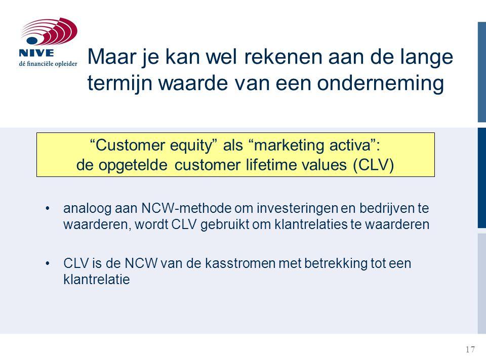 """17 Maar je kan wel rekenen aan de lange termijn waarde van een onderneming """"Customer equity"""" als """"marketing activa"""": de opgetelde customer lifetime va"""