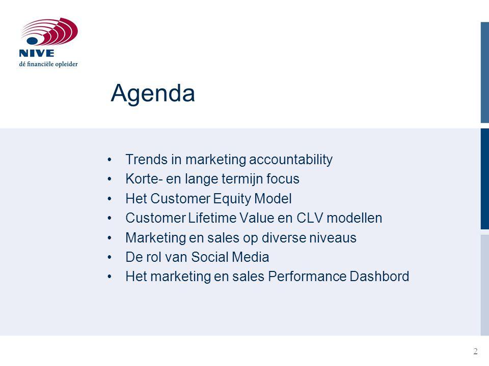 23 Voorbeeld 2 Het bedrijf verwacht dat een halvering van de marketinguitgaven zal leiden tot een verdubbeling van het verloop Is het zinvol dit te doen?