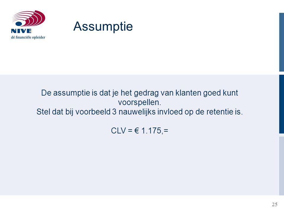 25 Assumptie De assumptie is dat je het gedrag van klanten goed kunt voorspellen. Stel dat bij voorbeeld 3 nauwelijks invloed op de retentie is. CLV =