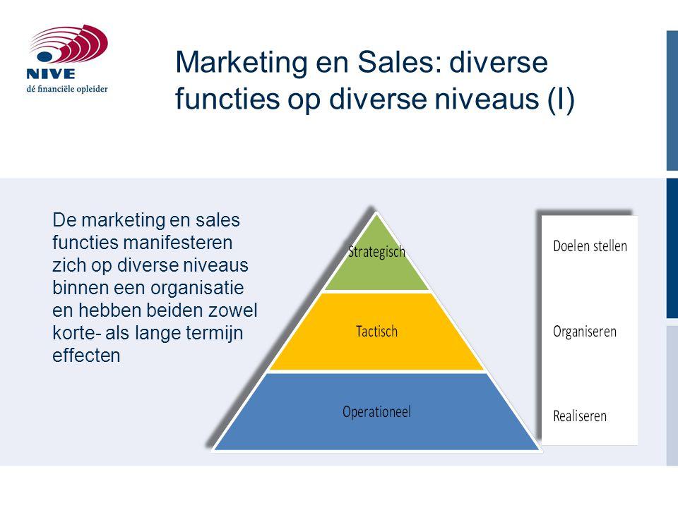 Marketing en Sales: diverse functies op diverse niveaus (I) De marketing en sales functies manifesteren zich op diverse niveaus binnen een organisatie