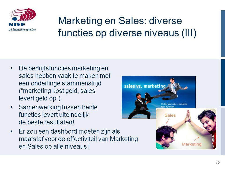"""35 De bedrijfsfuncties marketing en sales hebben vaak te maken met een onderlinge stammenstrijd (""""marketing kost geld, sales levert geld op"""") Samenwer"""