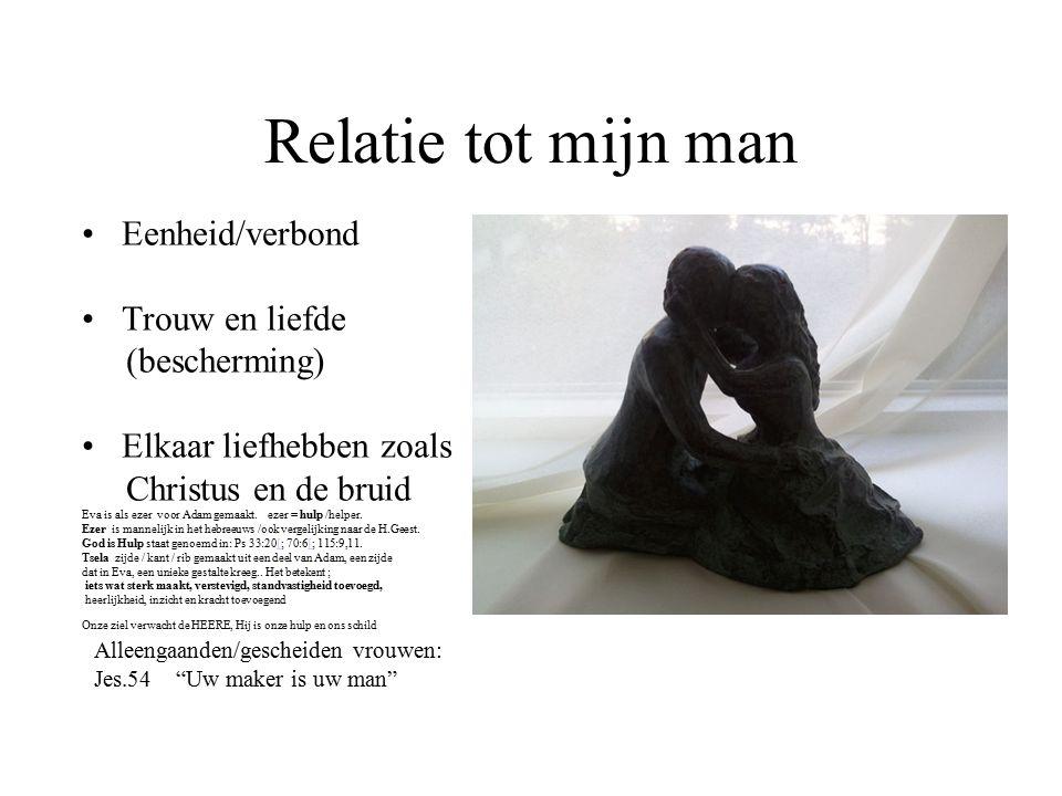 Relatie tot mijn man Eenheid/verbond Trouw en liefde (bescherming) Elkaar liefhebben zoals Christus en de bruid Eva is als ezer voor Adam gemaakt.