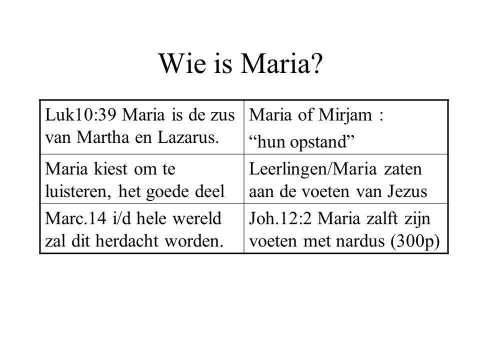 """Wie is Maria? Luk10:39 Maria is de zus van Martha en Lazarus. Maria of Mirjam : """"hun opstand"""" Maria kiest om te luisteren, het goede deel Leerlingen/M"""
